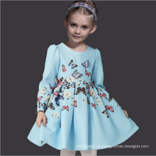 patrón de mariposa vestidos de moda de otoño marca niños manga completa azul claro medumn algodón invierno prendas Guangzhou fábrica