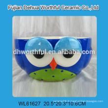 Bol en céramique en forme de hibou en bleu pour le commerce de gros