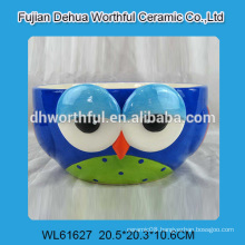Owl shaped ceramic bowl in blue for wholesale