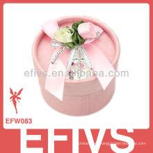 2013 Delicada Rosa Cilindro Wedding Favor Caja hecha en China