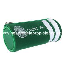 Cylinder Green Designer Neoprene Pencil Case With Zip School Use , Durable Stylish
