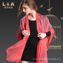 Écharpe réelle en soie Crepe Georgette Écharpe Mme Red Butterfly Print Sp21-1