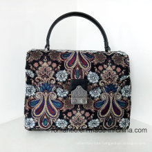 Fashion Stylish Lady PU Canvas Leather Embroidered Handbags (NMDK-032901)