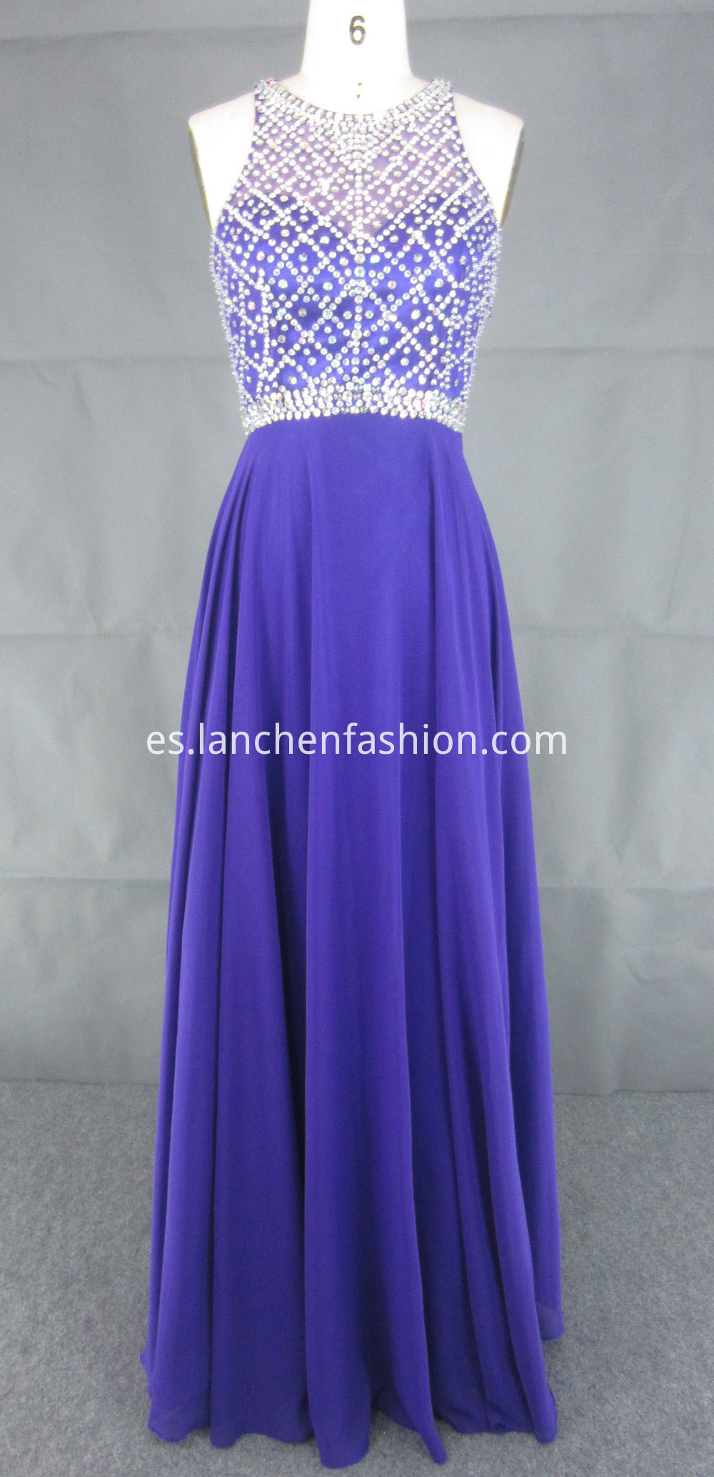 Halter Purple Prom Dress