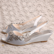 Sepatu Wedge Bridesmaid Silver Sandal Peep Toe