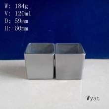 Square Colored Gray Glass Candle Jar Manufacturer Wholesale