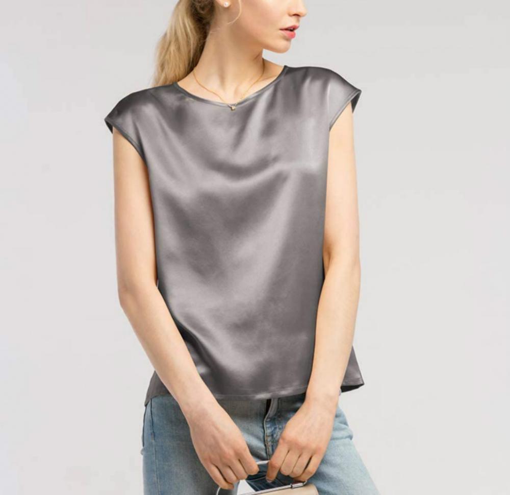 Grey Silk Tops
