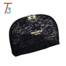 item de moda saco cosmético saco de maquiagem de couro preto rendas viajar bolsa de maquiagem