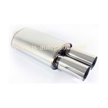 "UNIVERSAL JDM WELD ON 2.5"" INLET DUAL ROUND TIP MUFFLER EXHAUST"