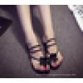 Ladies Fancy Slide Sandal Flower Décoré Flat Flip Flop Chaussures d'été pour femmes