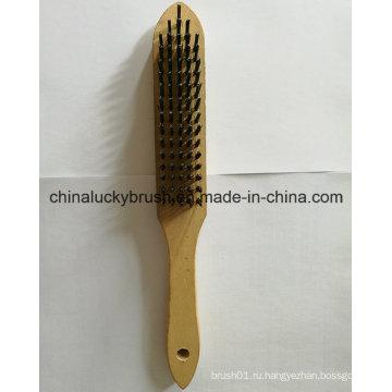 5X16 Ряд стальной проволоки деревянной ручкой кисть (YY-640)