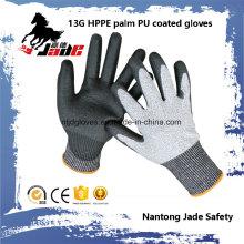 13G schwarzer PU beschichteter Sicherheits-Handschuh Level Grade 3 und 5