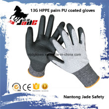 13G Black PU Coated Safety Work Luva Nível Nível 3 e 5