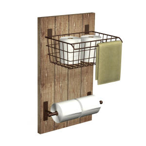 Metal and Wood Bathroom Wall Organizer and Tissue Paper Holder
