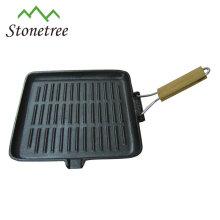 Poêle à frire en fonte à griller carrée avec poignée amovible