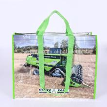 Wiederverwendbares Eco aufbereitetes lamelliertes Polypropylen pp. Gesponnenes EinkaufsTaschen-Taschen-Lebensmittelgeschäft für Förderung, Supermarkt und Werbung