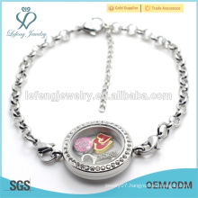 Customized logo floating locket bracelet wholesale, chain bracelet with locket