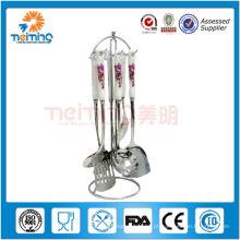 7 pcs bonito utensílios de cozinha / aço inoxidável utensílios de cozinha conjunto com cabo de cerâmica, presente de casamento