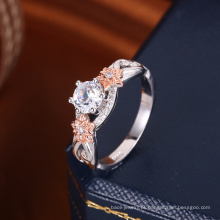novo 2018 tendência popular dois tom anel de ouro diamante rodada zirconia casamento