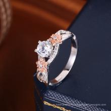 новые популярные 2018 тенденции два тона золото кольцо бриллиант круглый цирконий свадебные