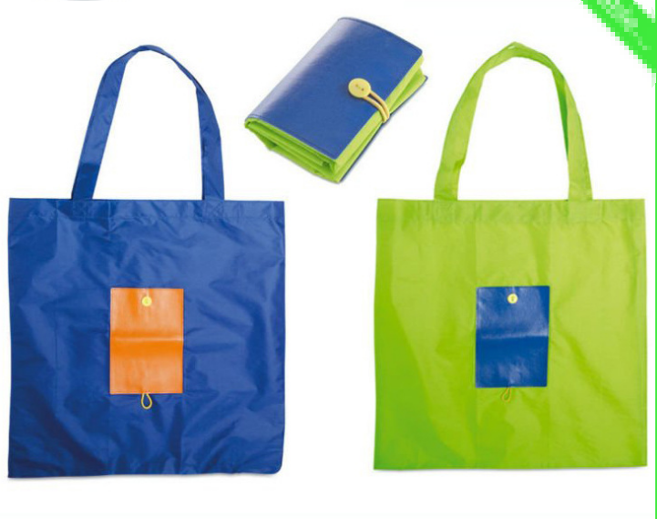 Nylon tote shopping bag with custom logo