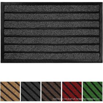 Tapete de porta original durável listrado, interior externo, fácil limpeza, capacho resistente, 29X17, chocolate listrado