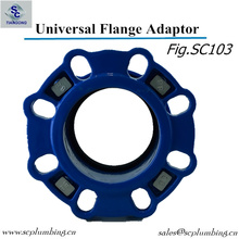 Adaptador de brida de rango amplio de hierro dúctil para tubería de PE