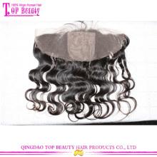 Qualidade superior totalmente feitas à mão do laço de seda base fechamentos de onda corpo frontal