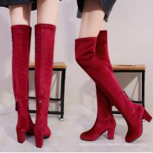 новое прибытие мода сексуальный снег зимой красный над коленом эластичной ткани сапоги