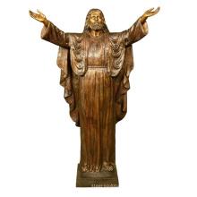 escultura de metal cristiano tamaño de la vida bienvenida jesús jardín estatua de bronce