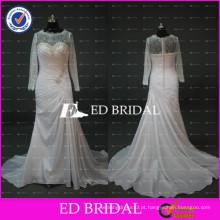 Real Sample Crew Neck Lace Long Sleeve Ruffle Vestidos de casamento de tafetá para a mulher gorda