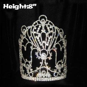 Coronas de reina al por mayor de cristal de 8 pulgadas