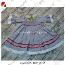 wholesale girl smocked natural fabric cotton dress