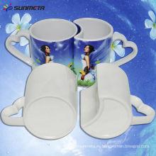 Venta caliente directamente de la fábrica de venta al por mayor Sublimación popular recubierto amante de los pares de taza blanca para el precio de venta