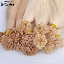 Prebonded pelo doble dibujado Remy cabello humano U punta / punta plana / I Tip extensiones de cabello venta al por mayor queratina # 613 pelo de punta plana