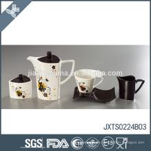 Modernes einzigartiges Blumen-Abziehbildentwurfstee-Set umweltfreundlicher türkischer Teekanne