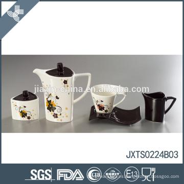 Juego de té único diseño moderno de la flor de la etiqueta engomada respetuosa del medio ambiente del té