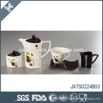 Modern unique flower decal design tea set eco-friendly turkish tea pot
