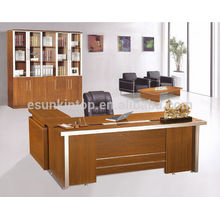 Fabricantes melamina moderno diseño de mesa de oficina ejecutiva con mesa lateral en forma de L