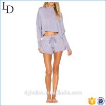 vente en gros à manches courtes à capuche roulé et jogger pantalon uni survêtement pour les femmes