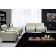 Weißes und schwarzes Ledersofa Set KW350