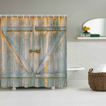 Vintage Wooden Door Waterproof Shower Curtain Antique Timber Furniture Bathroom Decor