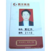 Tarjeta del empleado del PVC