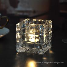 Bougeoir en verre carré en cristal pour la décoration à la maison