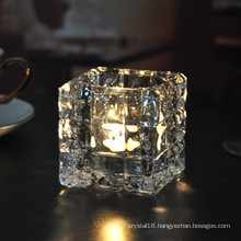 Square Crystal Glass Candleholder for Home Decoration