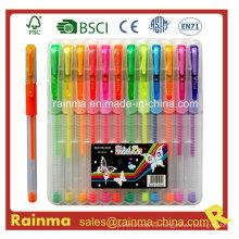 12 pluma de tinta de gel PCS conjunto en caja de plástico