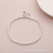 Simple Geometric Wild Round Bead Necklace Single Layer Temperament Imitation Pearl Handmade Anklet Women