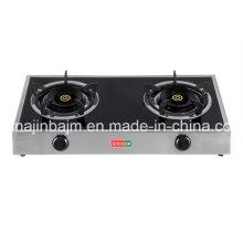2 quemadores de vidrio templado superior de acero inoxidable cocina de gas / estufa de gas