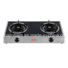Cuisinière à gaz en acier inoxydable à 2 brûleurs en vitrocéramique