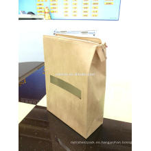 bolsa de papel kraft con cerradura zip de ventana cler